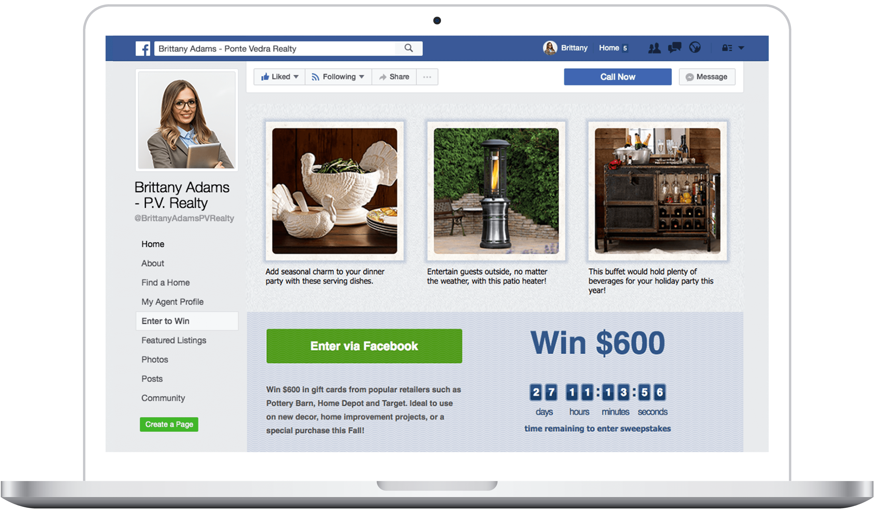 Dream Sweeps is a lead-generation sweepstakes built into your Facebook business page.
